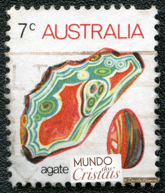 A stamp printed in Australia shows agate